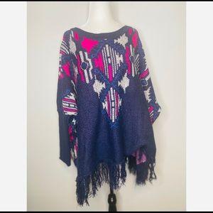 Umgee Tribal Poncho Sweater knit oversized boho
